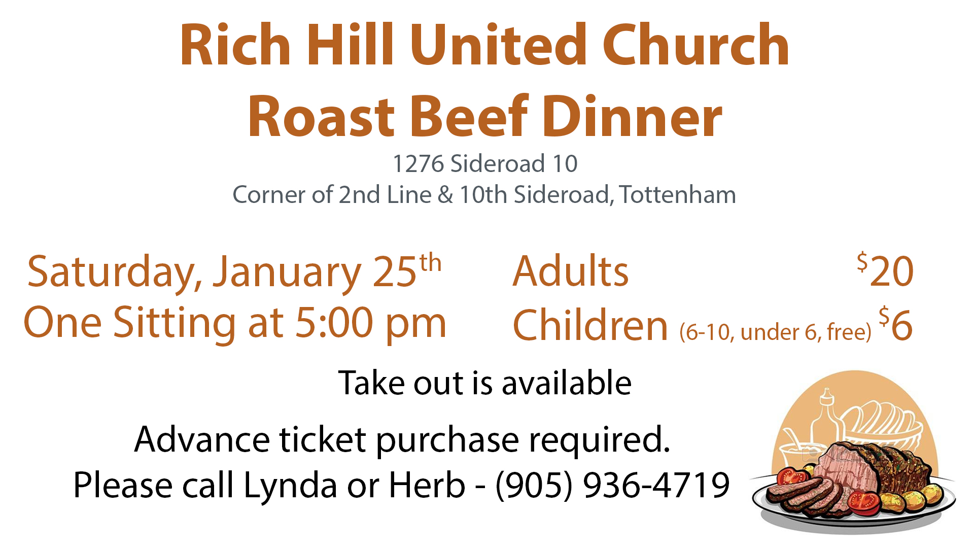 Roast Beef Dinner @ Rich Hill United Chuch